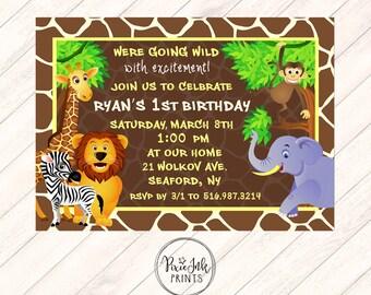 Jungle First Birthday Invitation, Jungle 1st Birthday Invitation, Safari Invitation, Jungle Birthday Printable, Safari 1st Birthday