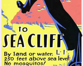 Just One Long Step to Sea Cliff, Long Island, New York. Vintage USA Travel Print/Poster