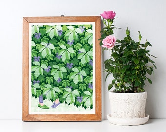 Summer Kiss Art Print A3 - Green Botanical Pattern, Housewarming Gift, Home Decor, Wall Art