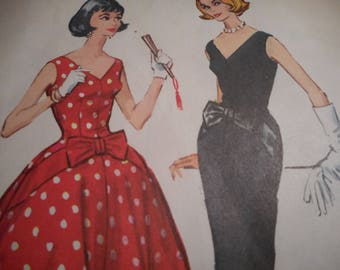 Vintage 1950's McCall's 4483 Dress Sewing Pattern, Size 12, Bust 32