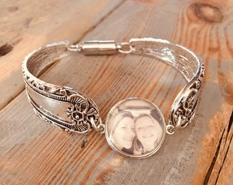 Boho spoon bracelet photo Snap charm silver bangle ginger snap noosa interchangeable gift gingersnap 18mm custom cuff persnalized magnetic
