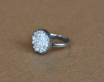 White Beaded pewter Ring