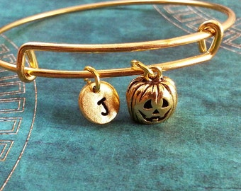 Jack-O-Lantern Bangle Bracelet Pumpkin Bracelet Pumpkin Bangle Gold Jack o Lantern Stackable Charm Bracelet Expandable Personalized Bangle