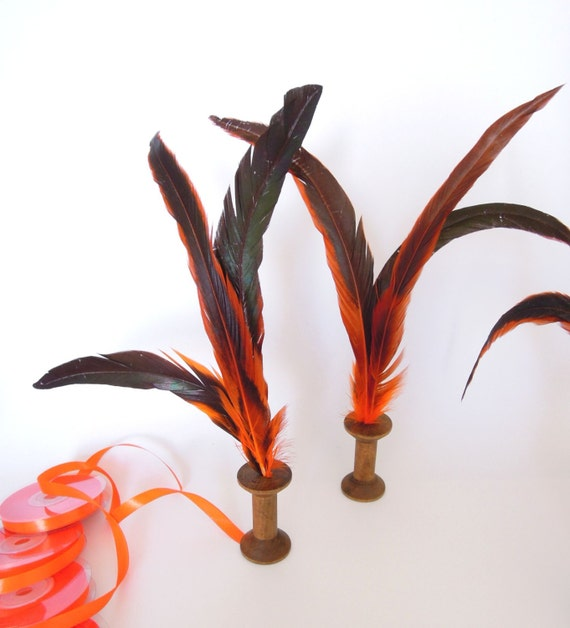 10 LONG feathers 30 cm, Orange long real feathers for crafts orange with green reflections