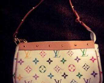 white multi color designer pouchet louis purse
