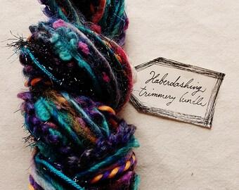 Mariana Trench jewel toned teal blue green violet trim striped twine Novelty Fiber Yarn Sampler Bundle