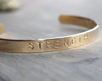 STRENGTH Cuff Brass Bracelet