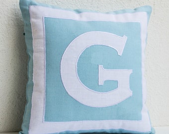 Monogrammed throw pillow, Throw pillow cover, Blue monogram pillow, blue white pillow, Letter pillow covers, Wedding pillows, Gifts for her.