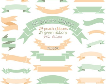 Ribbons Clipart Vector Ribbons Clip Art Digital Banners Clipart Scrapbooking Rustic Wedding Clipart Invitations Card Making Ming Peach