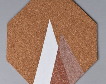 Rose Gold Corkboard Wall Tile: Mountains