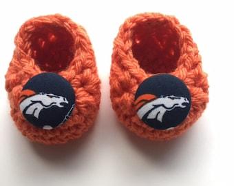 Denver Broncos baby booties, Broncos baby shower gift, Broncos baby gift, crochet baby booties, booties for baby, crochet baby shoes