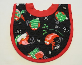 Crazy Birds Ornaments Pop-on Quilted Baby Bib
