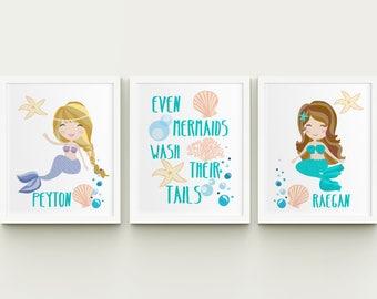 Delicieux Mermaids Personalized Girls Bathroom Printable Art Set, Sisters Custom  Bathroom Wall Art, Girls Bathroom Decor Download, Even Mermaids Set