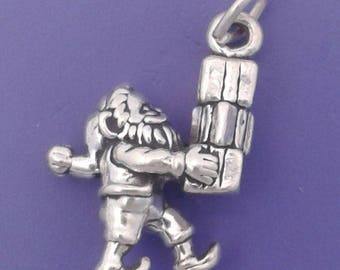 SANTA Claus Charm .925 Sterling Silver, ELF With Christmas Presents Pendant - lp3585