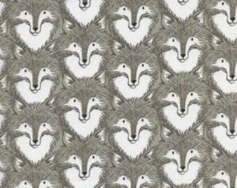 "27"" piece fox fabric, foxes, grey fox fabric, woodland nursery, neutral woodland fabric, foxes fabric, woodland fabric, fabric by the yard"