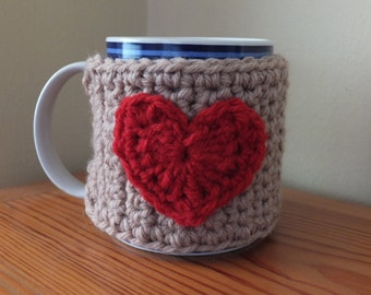 Crochet Heart Mug Cosy by Little Gems Crochet
