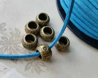 11 x 8 mm Antiqued Bronze Metal Beads/ Spacer Beads / Round Shape (.sga)