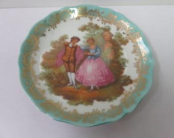 """Limoges France La Seynie Gold Leaf Courting Couple 4.5"""" Vintage"""