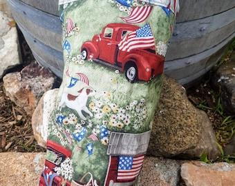 Patriotic Plastic Shopping Bag Holder, Old Truck Dispenser, Stars and Stripes Bag, American Flag Bag Holder, Grocery Bag Holder