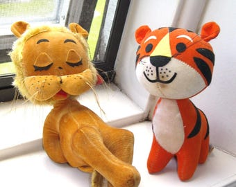Vintage Lion and Tiger Dream Pets/Made in Japan/Sawdust Stuffed Plush
