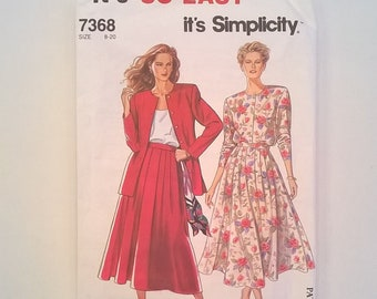 Simplicity Pattern 7368-  Jacket or Button Front Top and Pull-On Skirt -- Misses'  Sizes 8, 10, 12, 14, 16, 18, 20 -  Uncut