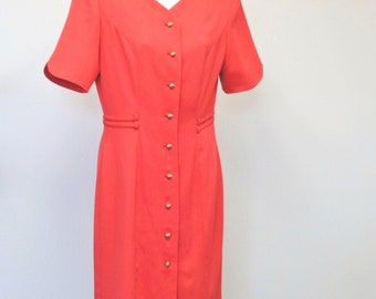 Vintage Dress Red Dress  1980's Crimson Fitted Day Dress Short Sleeved Dress Kasper Size 4 Button Down Front Classic Career Dress