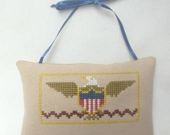 Patriotic Eagle Cross Stitch Hanging Pillow Ornament, Door Pillow, Independence Day, July 4