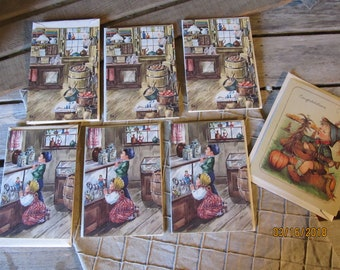 Lovely Vintage Blank Note Cards from Cape Shore- Adorable Kids in a Candy Store & Old Fashioned General Store - 7 Cards