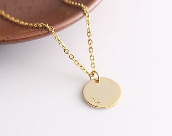 Personalized Bridesmaid Necklace, Gold Disc Necklace, Initial Necklace, Monogram Disc Necklace, Simple Gold Necklace, Personalized Gift Idea