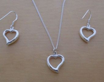 "925 Sterling Silver Drop Dangling Cut Out Love Heart Earrings and Pendant Set on 16, 18 or 20"" Sterling Silver Curb Chain"