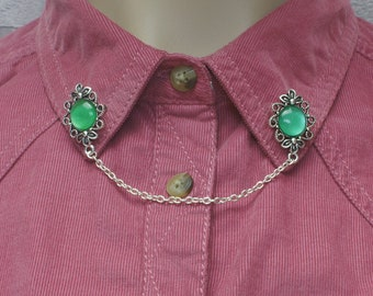Green Collar Pins, Sweater Pins, Victorian Brooch, Collar Chain, Victorian Jewellery, Lapel Pins, Collar Brooch