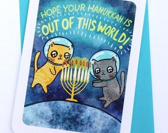 Hanukkah Card Space Cats - Holiday Notecard, Menorah Card, Cat Hanukkah Card, Season's Greetings Card Funny Hanukkah Card, Gifts for Her Him