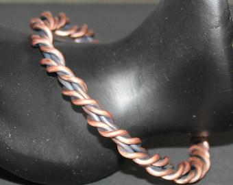 Antique Twisted Copper Bracelet,Unisex Antique Copper Bracelet,Unisex Antique Copper Twisted Bracelet, Twisted Antique Copper Bracelet