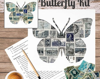 Butterfly Postage Stamp Art Kit
