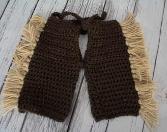 Baby Cowboy Chaps - Crocheted Baby Chaps -  Western Baby Photo Prop - Cowboy Chaps with Fringe - by JoJo's Bootique