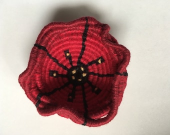 Red and black poppy flower miniature coiled linen basket