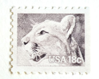 10 Unused Postage Stamps // Puma // Panther // Mountain Lion // Vintage 18 Cent Stamps
