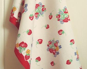 vintage strawberry tea towel