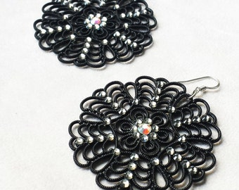 Black Swarovski statement earrings, Vintage Lucite Filigree, Valentine's gift for her,  Anniversary gift for wife, Lightweight earrings