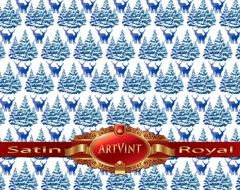 Christmas Trees and Deer in Blue  Wrapping Paper, Camo Pattern, Gift Wrap Great For Any Occasion. Made In USA