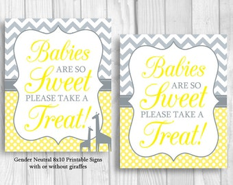 Babies Are So Sweet Please Take A Treat 8x10 Printable Gender Neutral Baby Shower Sign, Yellow and Gray, Giraffes Optional, Instant Download