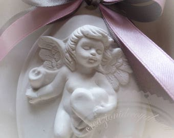 11 x 7 Angel cameo pieces 10 scented chalks cm birth christening favors