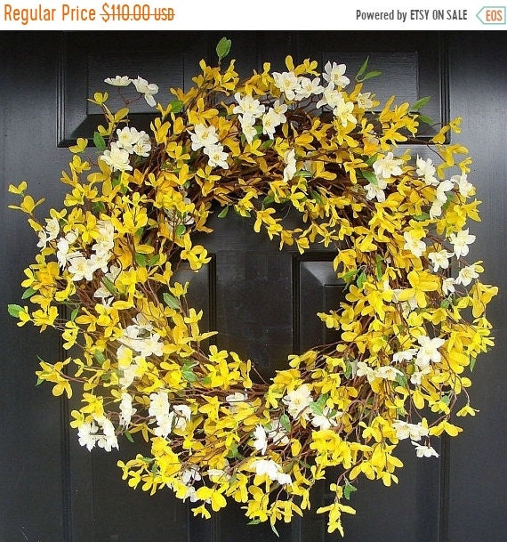SPRING WREATH SALE Year Round Wreath- Spring Forsythia Wreath- Forsythia Spring Wreath-Door Wreath 24 inch