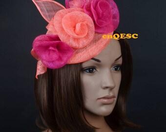Royal blue sinamay fascinator Roses fascinator formal hat for Royal Ascot wedding kentucky derby tea garden party.