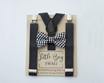 Bow Tie and Suspenders for Boys, Black Checkered Bow Tie Charcoal Suspenders, Boys Men Bow Tie Suspenders, Ring Bearer Outfit, Baby Shower