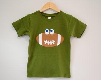 Size 6 Ready to Ship Applique Football Shirt, Boys Sports Tshirt, Green and Brown, Short Sleeve, Fall Autumn Tee Football Birthday