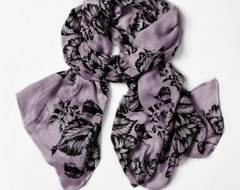 Bamboo Scarf - Floral - Grey - Everyday