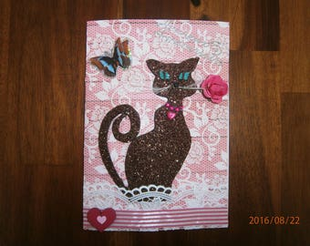 Children's card, chocolate cat pititou collection