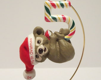Child's Fifth Christmas 1994 Teddy Bear Ornament By Hallmark