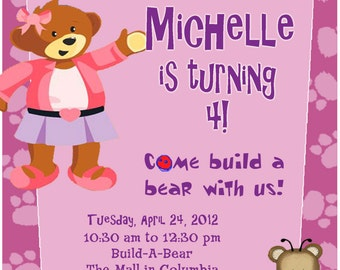 Build a bear party etsy personalized customized build a bear birthday invitation filmwisefo Images